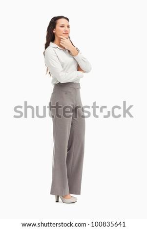 Thoughtful employee against white background