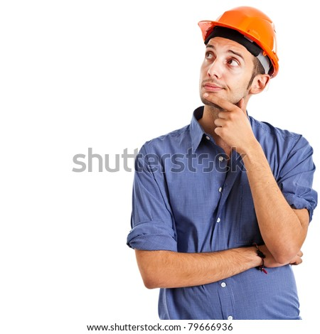 Thoughtful engineer isolated on white