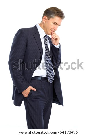 thoughtful handsome businessman. Isolated over white background - stock photo