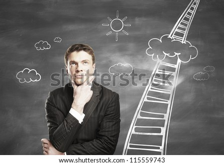 thoughtful man and a stairway to heaven