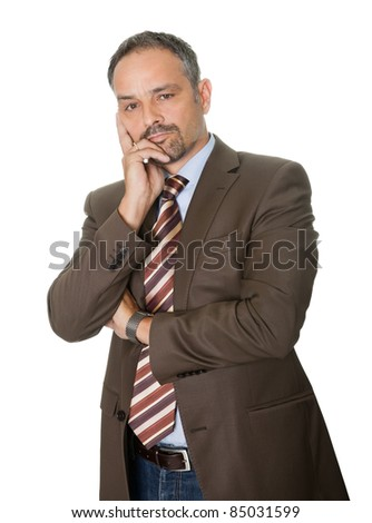 Thoughtful  mature businessman on white background
