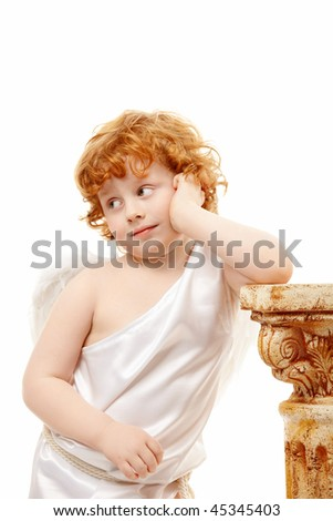 Thoughtful small cupid on a white background