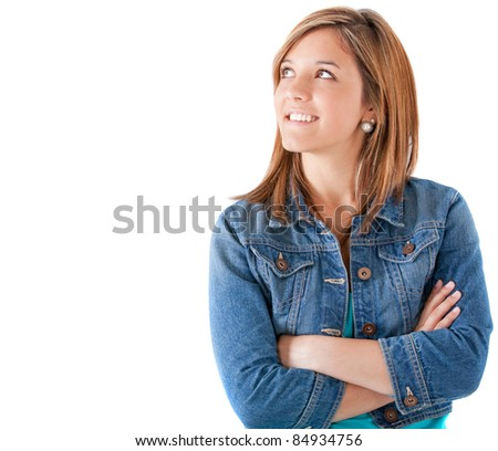 Thoughtful teenage girl looking up - isolated over white #84934756