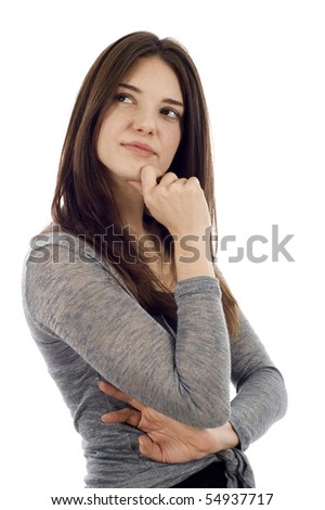 Thoughtful woman looking up at copyspace isolated over white background