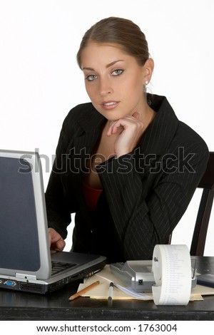 Thoughtful Young Business Woman with Laptop
