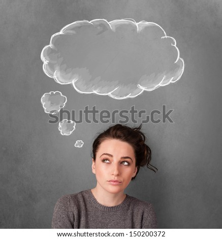 Thoughtful young woman gesturing with cloud above her head