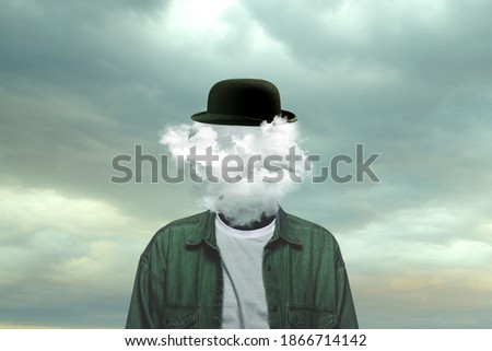Thoughts. Male body of model with head full of smoke about sky and clouds. Trendy colours and gradient grey-white background. Contemporary art collage. Inspiration, mood, creativity, brain concept. Foto stock ©