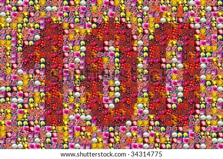 thousands of photos make the mosaic picture of the number 100 - stock photo
