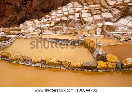 Thousands of shallow pools evaporate water at the maras salt mines