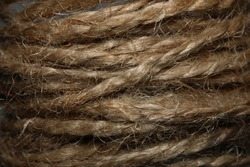 Threads close up. Twine texture. Rope (twine) jute brown, macro photography