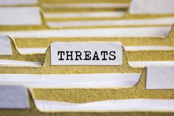 Threats word on card index paper