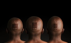 Three African slaves with retail barcode tattoos on black background.