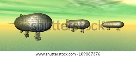 Three Airships Computer generated 3D illustration