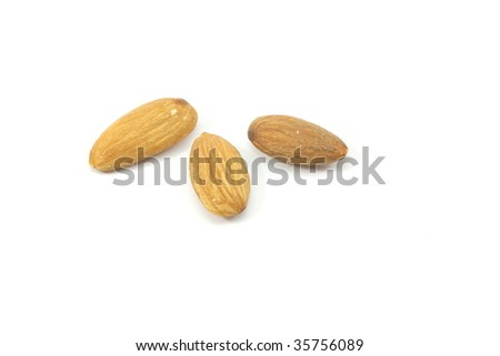 Three almond nuts placed