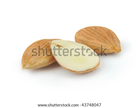 Three almonds in white - stock photo