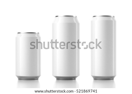 Three Aluminum White Can Mockup in different sizes. 3d rendering