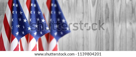 Three American flag and wooden boards #1139804201