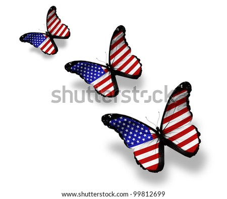 Three american flag butterflies, isolated on white
