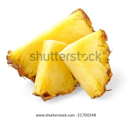 three ananas slices, isolated on white background, with light shadow
