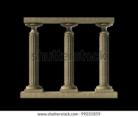Three ancient columns of marble isolated on black background High resolution 3D