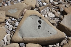 Three Angle Shaped Stone on the Beach.Natural Triangle With Small Holes Inside.