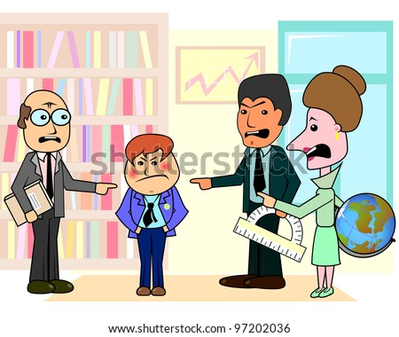 Three angry teachers discussing arrogant boy student in classroom