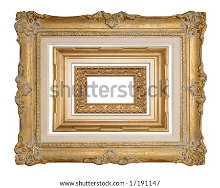 Three antique picture frames, stacked into one image. Isolated on white. Can be extracted individually. Use one, two, or all three.
