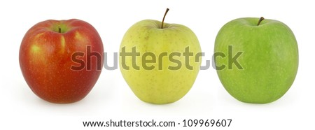 Three apples isolated on white background