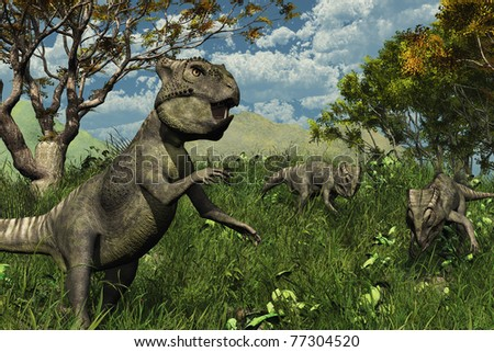 Three archaeoceratops dinosaurs explore a lush meadow - 3d render.