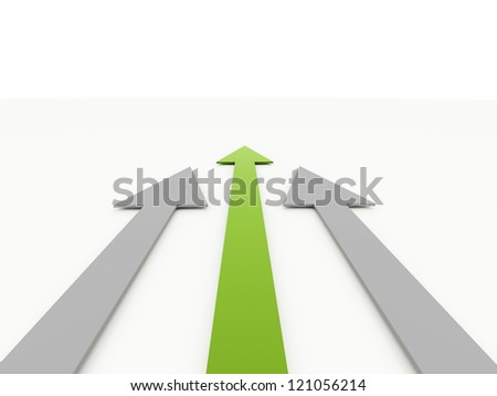 Three arrow rendered one is green on white background