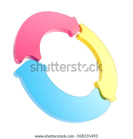 Three arrow segment cmyk colored copyspace emblem tag isolated on white background