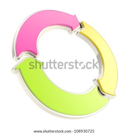 Three arrow segment colorful copyspace emblem tag isolated on white background