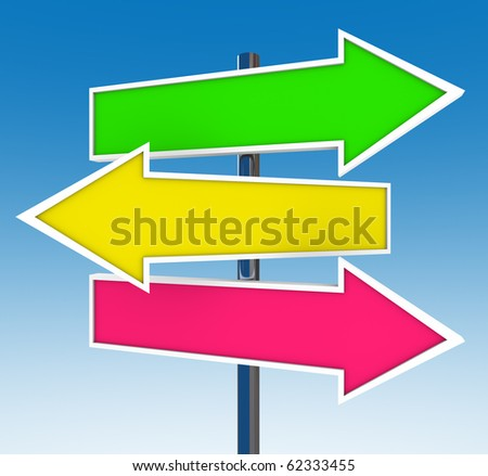 Three arrow signs against a clear blue sky representing multiple opportunities
