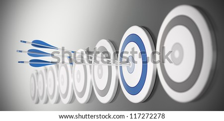 three arrows hitting the center of a blue target, there is many targets in a row with blur effect