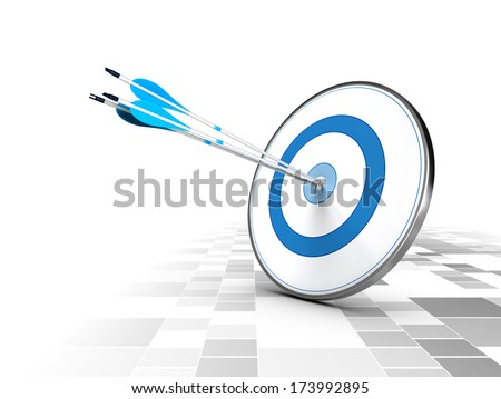 Three arrows in the center of a blue target, modern checker background. Image suitable for illustration of strategic business solutions or corporate strategy purpose.