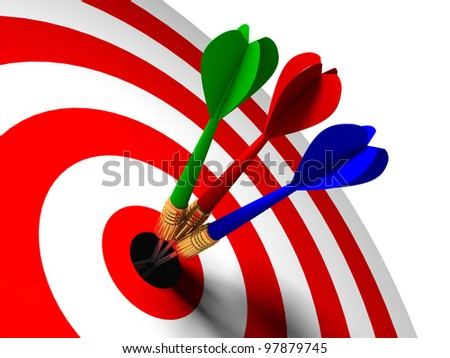 three arrows in the center of the target red white