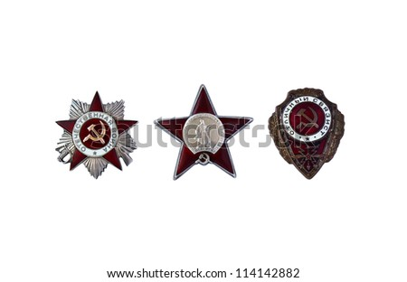 Three awards of the USSR are isolated on a white background