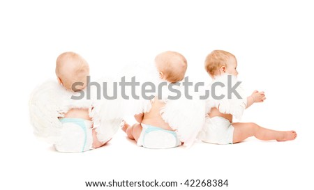Three baby angels sitting with their backs to the camera