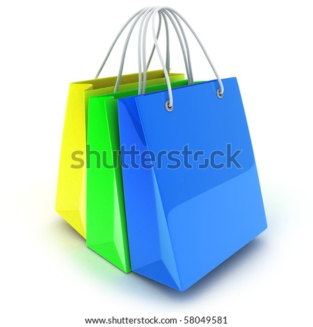 three bag, various colour (done in 3d, isolated)
