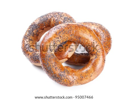 Three bagels isolated on white background