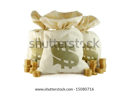 Three bags of money and group of coins near