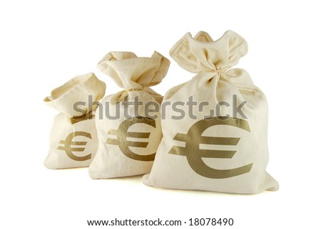 Three bags of money on the white background