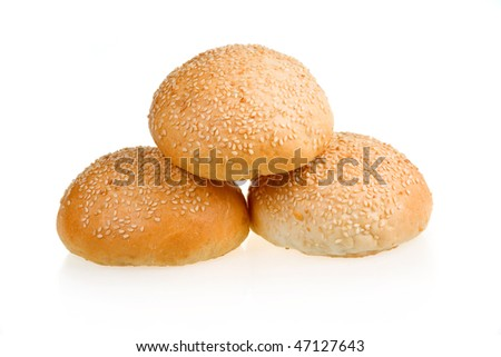 Three Baked Buns with Sesame Isolated on White Background