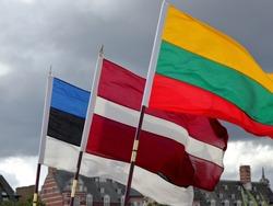 Three Baltic States national flags of Estonia, Latvia and Lithuania