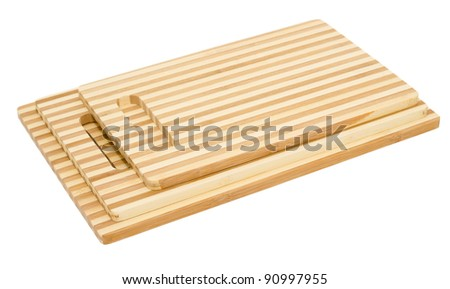 three bamboo cutting boards, isolated