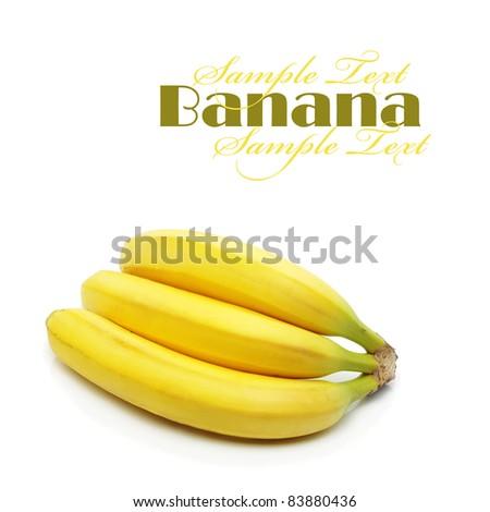 Three bananas, isolated on white