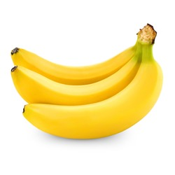 three bananas isolated on white background + Clipping Path