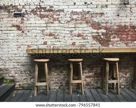 three bar stools in the...