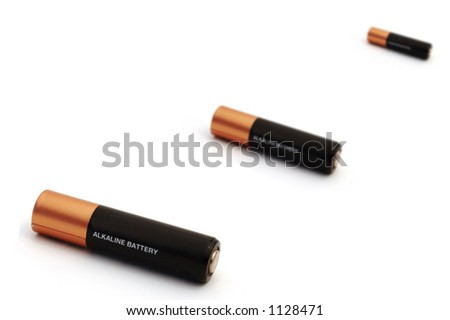 three battery in different depth of field