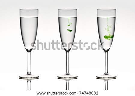 Three beautiful glasses depicting diffusion in action.